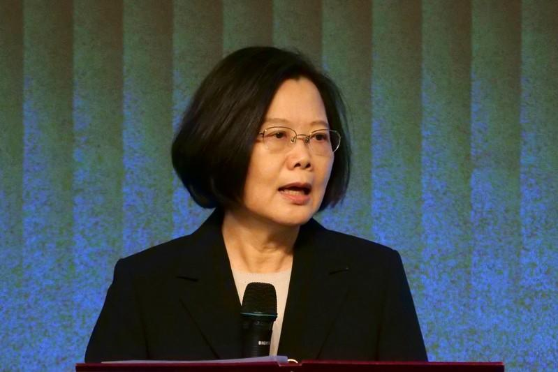 Taiwan's President Tsai Ing-wen speaks to members of the American Chamber of Commerce at their annual general meeting in Taipei