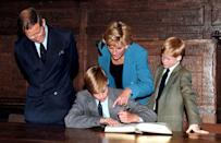 <p>In September 1995, Prince William followed Eton tradition by signing a book to mark the start of school—and Princess Diana, Prince Charles, and Prince Harry were all wearing blazers too.</p>