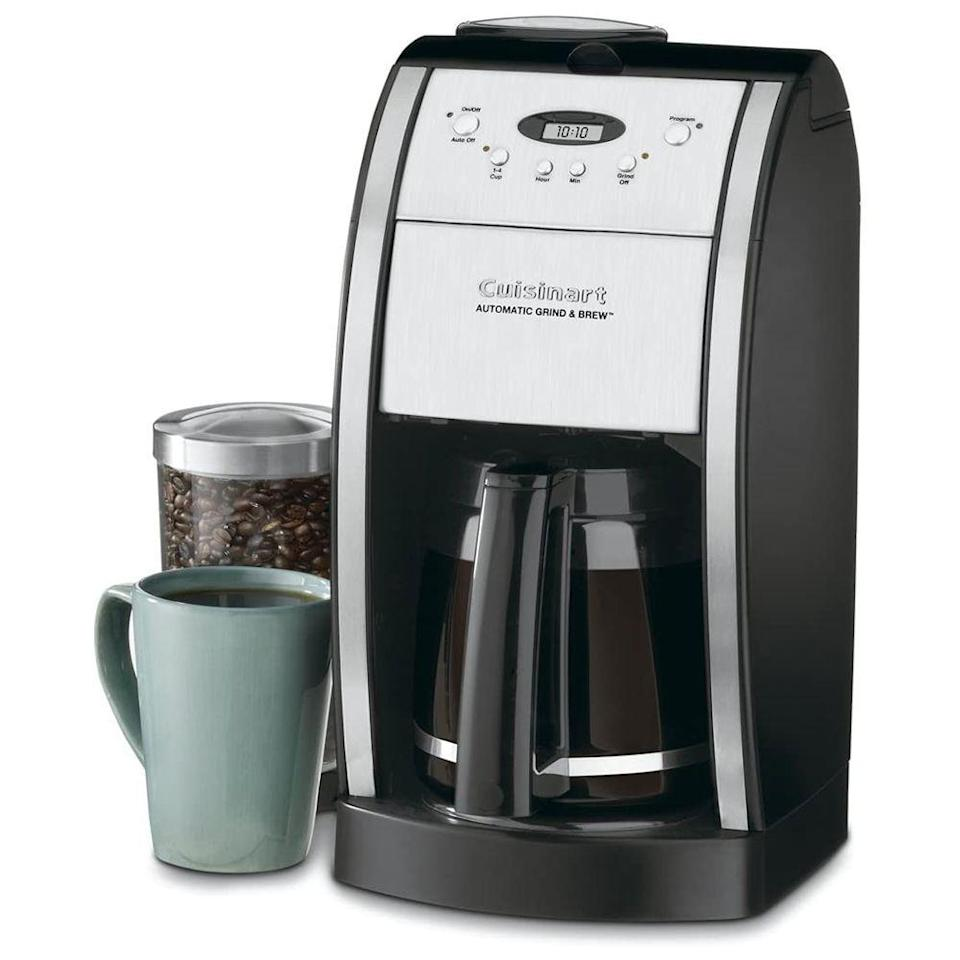 """<p><strong>Cuisinart</strong></p><p>amazon.com</p><p><strong>$399.00</strong></p><p><a href=""""https://www.amazon.com/dp/B000VTP45Q?th=1&tag=syn-yahoo-20&ascsubtag=%5Bartid%7C10055.g.2083%5Bsrc%7Cyahoo-us"""" rel=""""nofollow noopener"""" target=""""_blank"""" data-ylk=""""slk:Shop Now"""" class=""""link rapid-noclick-resp"""">Shop Now</a></p><p>For the freshest tasting cup of coffee, the Cuisinart Grind and Brew <strong>grinds your beans immediately before brewing, or use pre-ground coffee if that's what you have on hand</strong>. It features a <a href=""""https://www.goodhousekeeping.com/appliances/coffee-maker-reviews/g30986295/best-coffee-grinders/"""" rel=""""nofollow noopener"""" target=""""_blank"""" data-ylk=""""slk:burr grinder"""" class=""""link rapid-noclick-resp"""">burr grinder</a>, which is designed to grind coffee very evenly. The hopper holds up to half a pound of beans and features a sealed lid to help keep them fresh. In our tests, we liked how easy the water filter was to fill, from either the right or left side. It is also relatively quiet for a grinder, and grinds directly into the basket and auto rinses when done to help prevent clogs. </p>"""