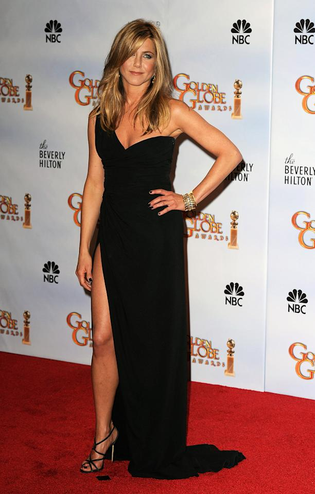 Best blonde in black: Jennifer Aniston. OK, so yes, a little awkward to throw Brad Pitt's ex in the mix — especially since Jennifer Aniston hasn't even attended the Golden Globes ceremonies in a couple of years. Still, people rave — and search online — for that one-shoulder, high-slit Valentino Couture gown she wore in 2010, with lots and lots of bronzer. She also plunged into a Valentino in 2004 (and it plunged for her), and she pulled off a tuxedo pantsuit — no shirt — in 2002.