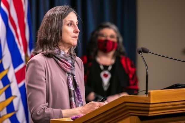 Chief Coroner Lisa Lapointe speaks on April 14 to mark the five-year anniversary of B.C. declaring a public health emergency.