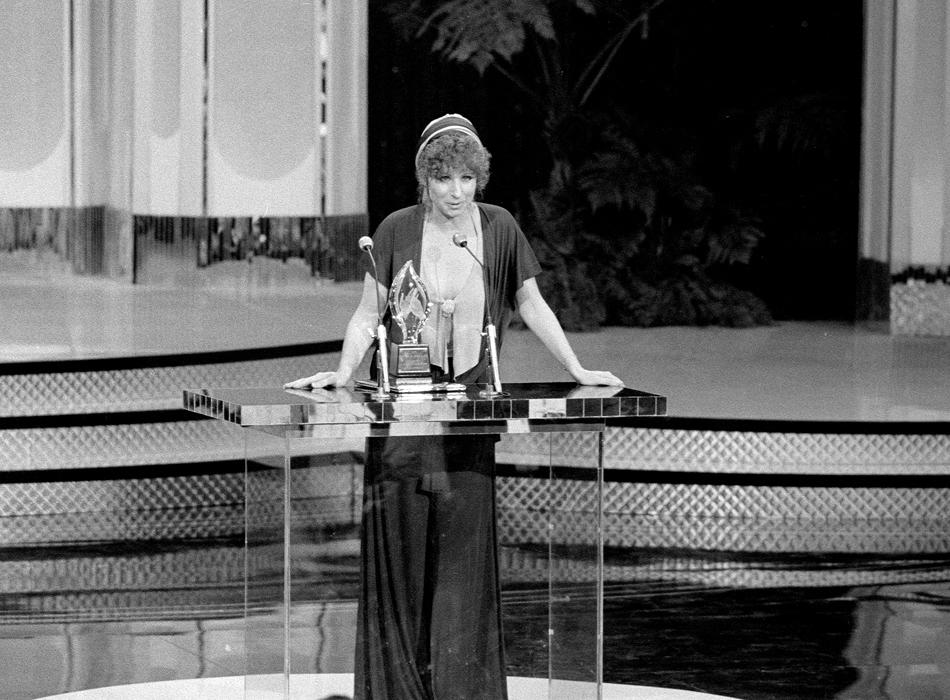 "Barbara Streisand, winner of ""Favorite Motion Picture Actress"" at ""People's Choice Awards 1977."""