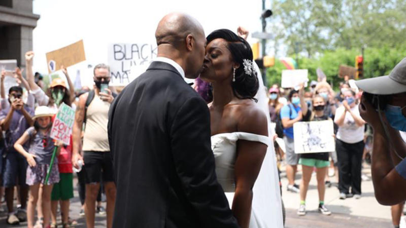 The couple tied the knot before embarking on a slightly different kind of wedding march. Photo: AP