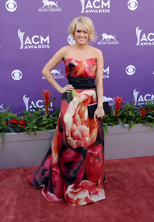 LAS VEGAS, NV - APRIL 07: Singer Carrie Underwood arrives at the 48th Annual Academy of Country Music Awards at the MGM Grand Garden Arena on April 7, 2013 in Las Vegas, Nevada. (Photo by Jason Merritt/Getty Images)