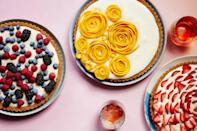 """This gorgeous dessert has a nutty tart shell inspired by pecan sandies and a lemon curd–spiked whipped cream filling. The fruit topping can be as simple or complex as you like; simply sprinkle berries on top for an easy finishing touch or arrange strawberry or mango slices in a rose-like pattern to create a stunning presentation. <a href=""""https://www.epicurious.com/recipes/food/views/easy-fruit-tart-with-pecan-cookie-crust?mbid=synd_yahoo_rss"""" rel=""""nofollow noopener"""" target=""""_blank"""" data-ylk=""""slk:See recipe."""" class=""""link rapid-noclick-resp"""">See recipe.</a>"""
