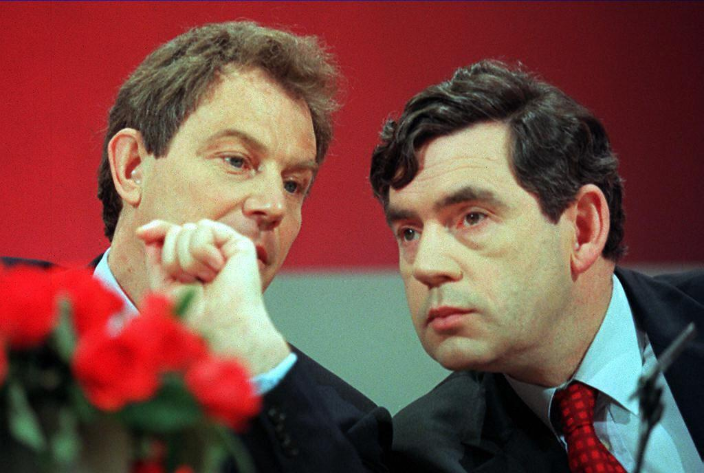 Programme Name: Blair & Brown: The New Labour Revolution - TX: n/a - Episode: Blair & Brown: The New Labour Revolution - ep 2 (No. 2) - Picture Shows: Tony Blair, opposition Labour party leader, and Gordon Brown, shadow chancellor, confer at a 1997 election campaign press conference.  Tony Blair, Gordon Brown - (C) Getty - Photographer: Johnny Eggitt/AFP