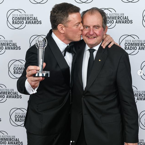 A photo of John Fordham and Ben Fordham at the 2019Australian Commercial Radio Awards, where Ben won an award for Best Talk Presenter.