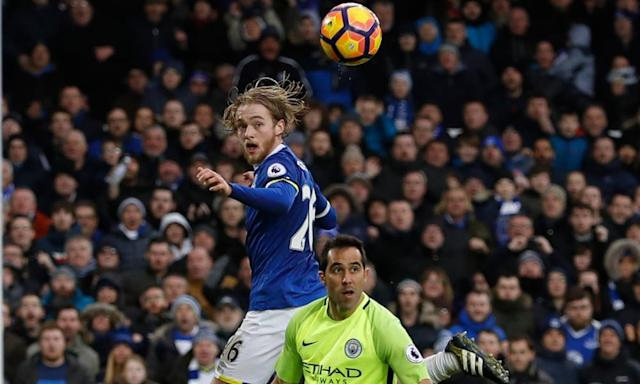 "<span class=""element-image__caption"">Tom Davies's progress with Everton this season has earned him a new five-year contract.</span> <span class=""element-image__credit"">Photograph: Lee Smith/Reuters</span>"