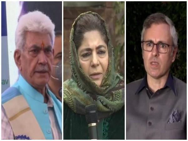 J-K LG Manoj Sinha, PDP Chief Mehbooba Mufti, NC leader Omar Abdullah (from left to right)