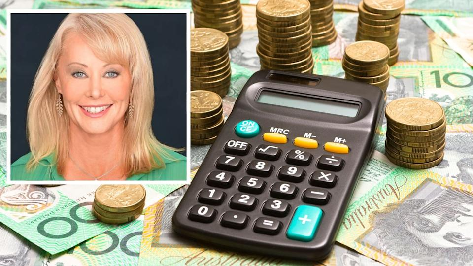 Carey Furze smiles at the camera in business style photo, image of Australian $100 notes and coins with calculator.