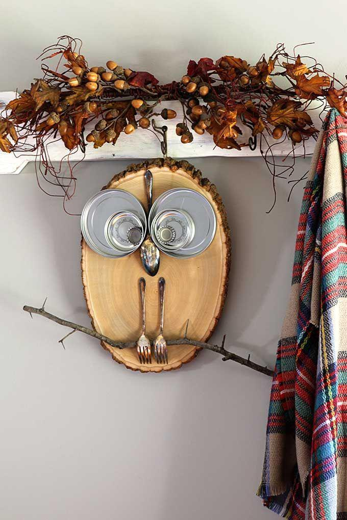 "<p>You probably don't consider utensils to be a valid decor option, but <a href=""https://www.houseofhawthornes.com/diy-wood-slice-owl/"" rel=""nofollow noopener"" target=""_blank"" data-ylk=""slk:House of Hawthornes"" class=""link rapid-noclick-resp"">House of Hawthornes</a> thinks otherwise. With a wood slice and some small mixing bowls, forks, and spoons, you can make a thrifty owl face that can stay up in your kitchen for Thanksgiving or all year round.</p><p><a class=""link rapid-noclick-resp"" href=""https://personalgiftsetc.com/collections/craft-supplies/products/americana-multi-purpose-sealer-2oz"" rel=""nofollow noopener"" target=""_blank"" data-ylk=""slk:BUY NOW"">BUY NOW</a> <strong><em>Wood sealer, $1.48</em></strong></p>"