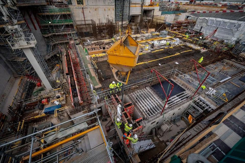 Concrete is ready to be poured as work continues at Hinkley Point C (Ben Birchall/PA) (PA Wire)