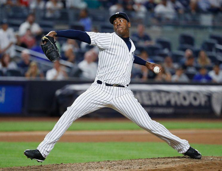 NEW YORK, NY - JULY 18: Aroldis Chapman #54 of the New York Yankees pitches against the Baltimore Orioles during their game at Yankee Stadium on July 18, 2016 in New York City. (Photo by Al Bello/Getty Images)