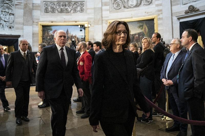 CIA Director Gina Haspel paid her respects at the casket of former president George H.W. Bush as he lay in state at the US Capitol, before she briefed US senators on Saudi Arabia's possible involvement in the murder of journalist Jamal Khashoggi (AFP Photo/Drew Angerer)