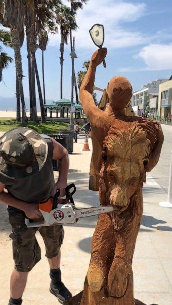 PHOTO: Stacy Poitras's rendition of the seven deadly sins sculpture, Venice, CA. (ABC News)