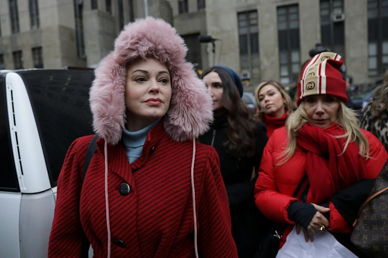 Rose McGowan (pictured outside the Harvey Weinstein trial last month) stood up for Gayle King for referencing Kobe Bryant's sexual assault allegations. (Photo: REUTERS/Jeenah Moon)