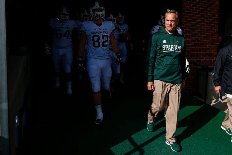 Mark Dantonio is hoping his team can put a fresh foot forward after booting the players who were charged with sexual assault. (Getty)