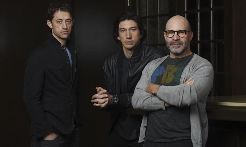 Adam Driver (centre) plays former Senate investigator Daniel Jones (left) in The Report, written and directed by Scott Z Burns (right)