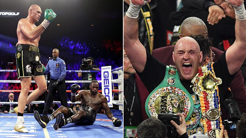 Seen here, Tyson Fury celebrates his TKO victory over Deontay Wilder.