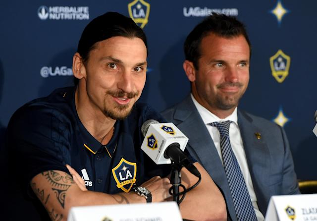 "<a class=""link rapid-noclick-resp"" href=""/soccer/players/374294/"" data-ylk=""slk:Zlatan Ibrahimovic"">Zlatan Ibrahimovic</a> and LA Galaxy president Chris Klein. (Jayne Kamin-Oncea/Getty Images)"