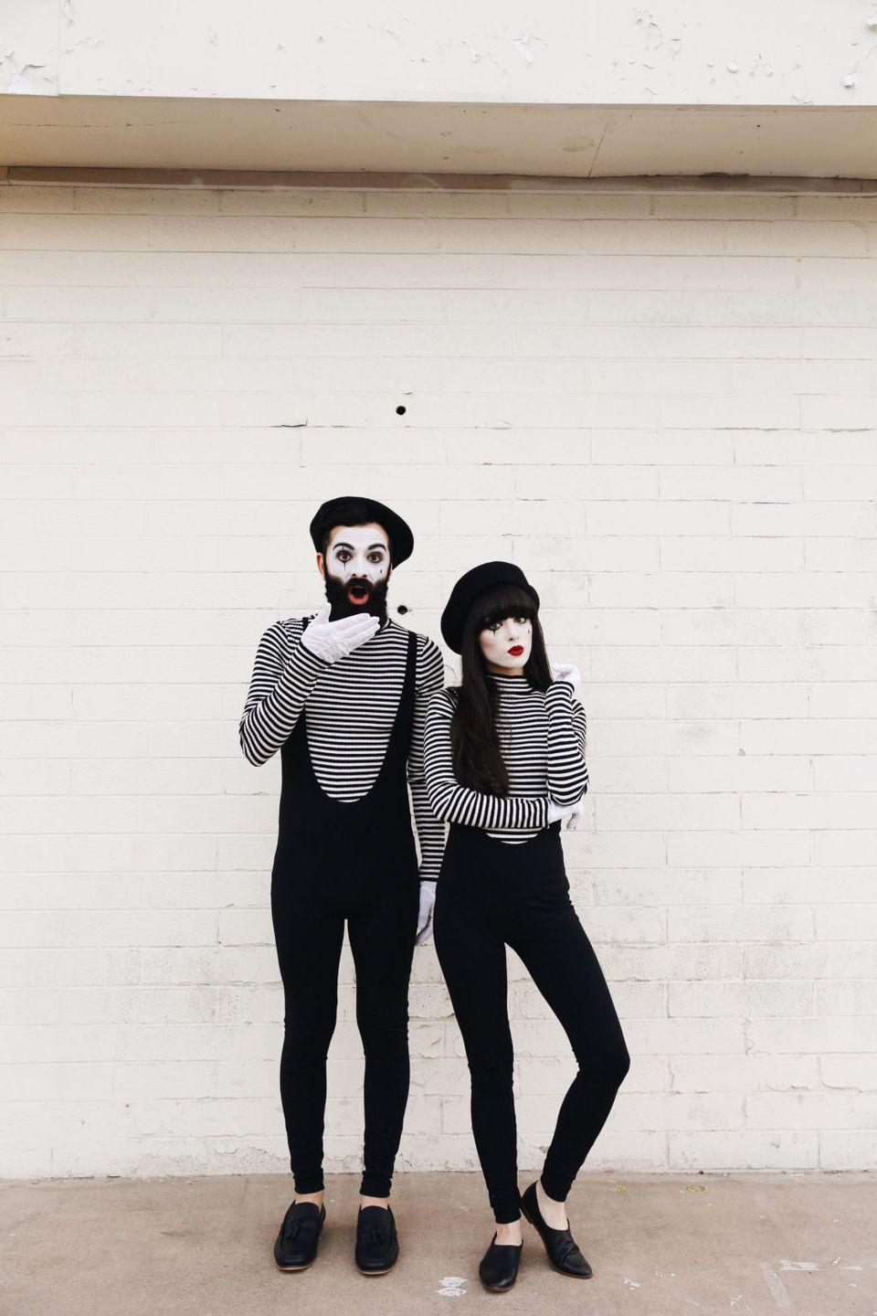 """<p>All you need is a striped shirt, black jumpsuit, and beret for an excuse to give your partner the silent treatment all night long. (Just kidding! 😉) </p><p><strong>See more at <a href=""""http://newdarlings.com/2016/10/halloween-halloween-halloween/"""" rel=""""nofollow noopener"""" target=""""_blank"""" data-ylk=""""slk:New Darlings"""" class=""""link rapid-noclick-resp"""">New Darlings</a>. </strong></p><p><a class=""""link rapid-noclick-resp"""" href=""""https://www.amazon.com/Kangaroo-Wool-Black-Beret-Hat/dp/B00SUMGC5M?tag=syn-yahoo-20&ascsubtag=%5Bartid%7C10050.g.29402076%5Bsrc%7Cyahoo-us"""" rel=""""nofollow noopener"""" target=""""_blank"""" data-ylk=""""slk:SHOP BLACK BERETS"""">SHOP BLACK BERETS</a></p>"""