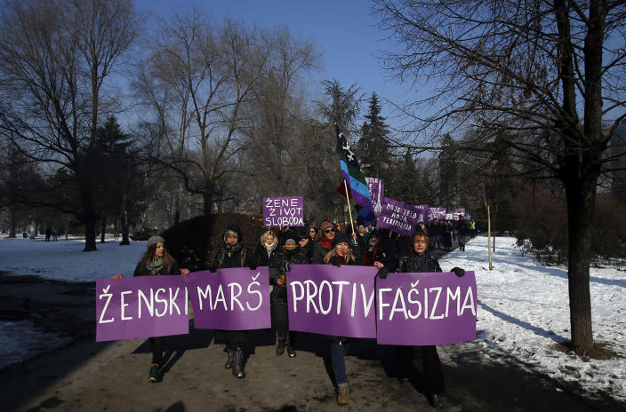 "<p>Activists hold a banner that reads ""Women's March Against Fascism"" during the Women's March rally in Belgrade, Serbia, Jan. 21. The march was held in solidarity with the Women's March on Washington, advocating women's rights and opposing Donald Trump's presidency. (AP Photo/Darko Vojinovic) </p>"