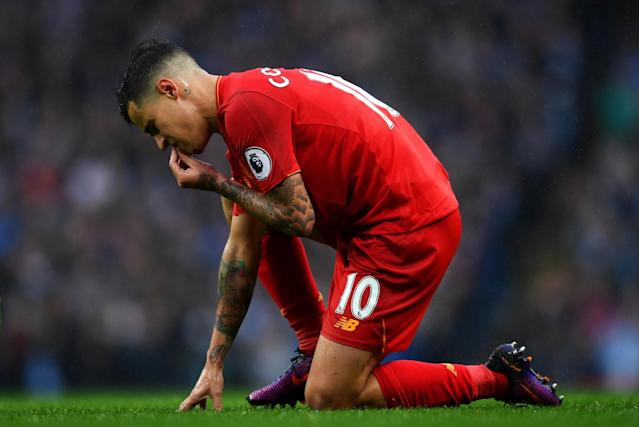 <p>Philippe Coutinho looks on frustrated </p>