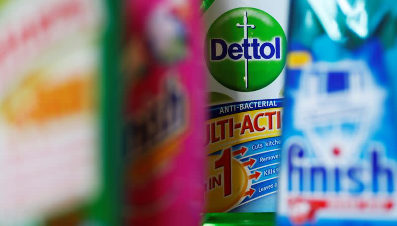 FILE PHOTO: Products produced by Reckitt Benckiser; Harpic, Vanish, Dettol and Finish, are seen in London