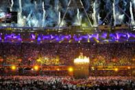 The Olympic Flame is lit during the opening ceremony of the London 2012 Summer Games