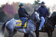 Tacitus is taken for a workout at the Breeders' Cup World Championship horse races at Keeneland Race Course Thursday, Nov. 5, 2020, in Lexington, Ky. Tacitus is scheduled to run in the Breeders' Cup Classic race Saturday. (AP Photo/Mark Humphrey)