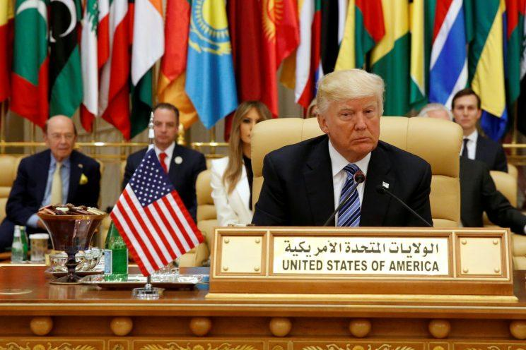 President Trump takes his seat before his speech to the Arab Islamic American Summit in Riyadh, Saudi Arabia.
