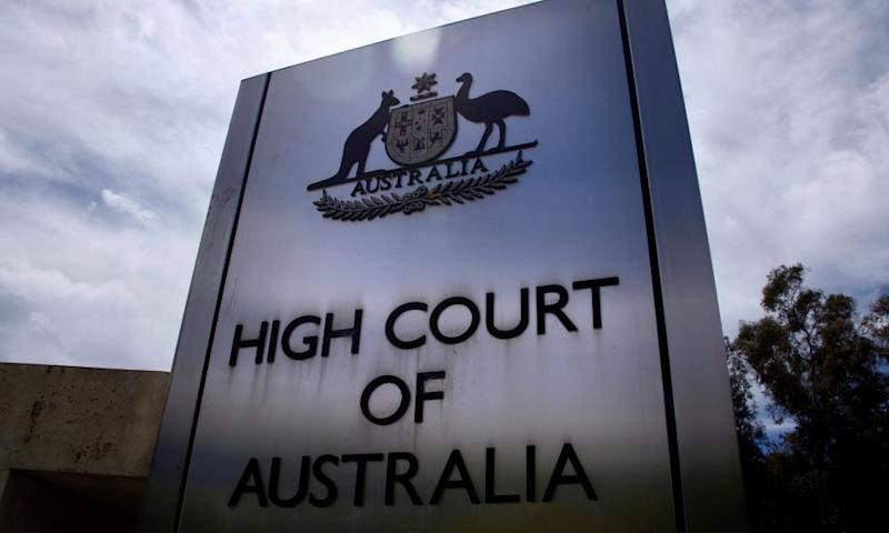 Sign outside the high court of Australia in Canberra