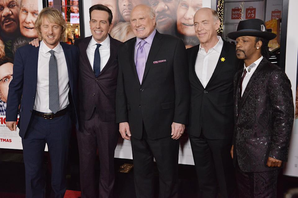 """(L-R) """"Father Figures"""" Cast - Owen Wilson, Ed Helms, Terry Bradshaw, JK Simmons and Katt Williams at the """"Father Figures"""" Los Angeles Premiere held at the TCL Chinese Theatre in Hollywood, CA on Wednesday, December 13, 2017. (Photo By Sthanlee B. Mirador/Sipa USA)"""