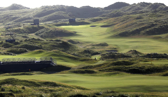The Dunluce Links course at Royal Portrush Golf Club, Northern Ireland, Saturday, July 6, 2019. The Open Golf Championship will be played at Royal Portrush marking a historic return to Northern Ireland after it was last played there in 1951. (AP Photo/Peter Morrison)