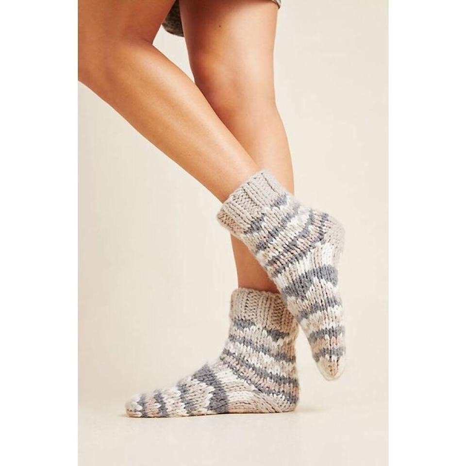 """<p>Incredibly soft and comfortable, these socks are a shoe-in for wearing with mid-height boots. That said, the gray and beige Fair Isle-inspired pattern topped off with a chunky rib at the ankle makes them almost too cute to cover, so we don't blame you if these become your around-the-house socks.</p> <p><strong>$32</strong> (<a href=""""https://www.anthropologie.com/shop/moon-beam-socks"""" rel=""""nofollow"""">Shop Now</a>)</p>"""