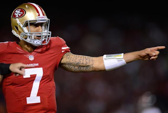 SAN FRANCISCO, CA - NOVEMBER 19: Colin Kaepernick #7 of the San Francisco 49ers looks on during a time-out against the Chicago Bears during the third quarter at Candlestick Park on November 19, 2012 in San Francisco, California. The 49ers won the game 32-7. (Photo by Thearon W. Henderson/Getty Images)