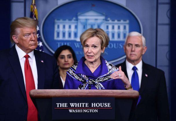 PHOTO: White House Coronavirus Task Force Coordinator, Dr. Deborah Birx, answers a question during the daily briefing on the novel coronavirus, COVID-19, at the White House on March 18, 2020, in Washington. (Brendan Smialowski/AFP via Getty Images)