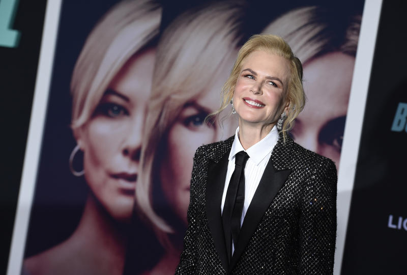 "Nicole Kidman attends the premiere of ""Bombshell"" at Regency Village Theatre on Tuesday, Dec. 10, 2019, in Los Angeles. (Photo by Jordan Strauss/Invision/AP)"