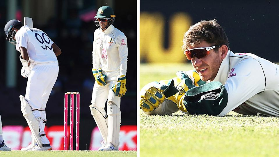 Tim Paine (pictured right) on the ground after a dropped catch and Ravi Aswin (pictured left) talking with Paine.