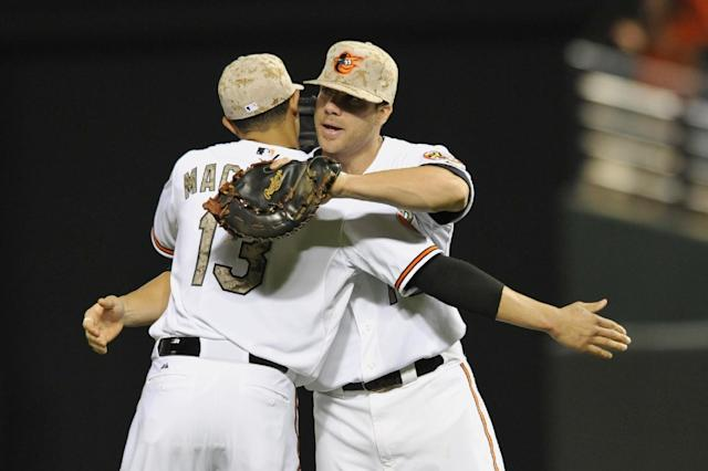 Baltimore Orioles first baseman Chris Davis, right, and Manny Machado celebrate their 2-0 win over the Boston Red Sox in a baseball game, Friday, June 14, 2013, in Baltimore. (AP Photo/Gail Burton)
