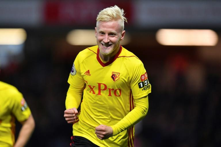 Watford's midfielder Will Hughes celebrates scoring against West Ham United at Vicarage Road Stadium in Watford, north of London on November 19, 2017