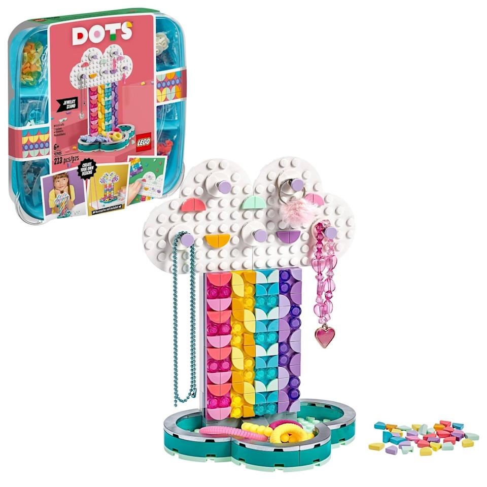 "<p>The <a href=""https://www.popsugar.com/buy/Lego-Dots-Jewelry-Stand-Kit-572087?p_name=Lego%20Dots%20Jewelry%20Stand%20Kit&retailer=michaels.com&pid=572087&price=15&evar1=moms%3Aus&evar9=47243673&evar98=https%3A%2F%2Fwww.popsugar.com%2Ffamily%2Fphoto-gallery%2F47243673%2Fimage%2F47243746%2FLego-Dots-Jewelry-Stand-Kit&list1=toys%2Ctoy%20fair%2Ckid%20shopping%2Ckids%20toys&prop13=api&pdata=1"" class=""link rapid-noclick-resp"" rel=""nofollow noopener"" target=""_blank"" data-ylk=""slk:Lego Dots Jewelry Stand Kit"">Lego Dots Jewelry Stand Kit</a> ($15) has 213 pieces and is intended for kids ages 6 and up.</p>"