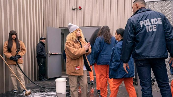 """Nicky Nichols, played by Natasha Lyonne, pleads with an Immigration and Customs Enforcement (ICE) officer in the Netflix series """"Orange is the New Black."""""""