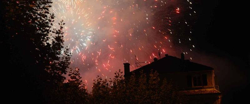 fireworks from a house
