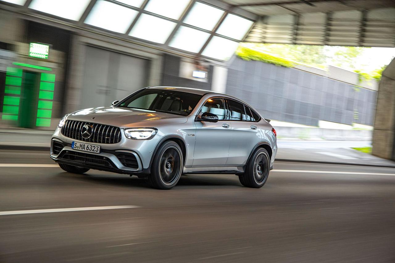<p>Rated at 503 horsepower and 517 lb-ft of torque, the GLC63 S's 4.0-liter twin-turbo V-8 offers dazzling acceleration and a stirring soundtrack.</p>