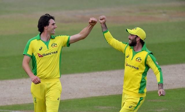 Australia's Pat Cummins celebrates with Glenn Maxwell (right) after taking the wicket of England's Jonny Bairstow