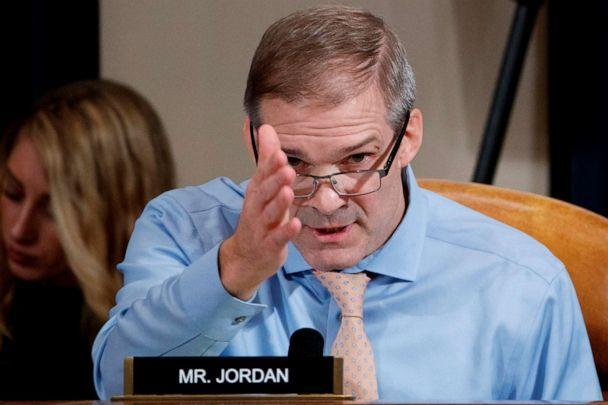 PHOTO: Republican Representative from Ohio Jim Jordan questions Jennifer Williams and Alexander Vindman on the impeachment inquiry into President Donald Trump, on Capitol Hill in Washington, D.C., on Nov. 19, 2019. (Shawn Thew/AFP via Getty Images)