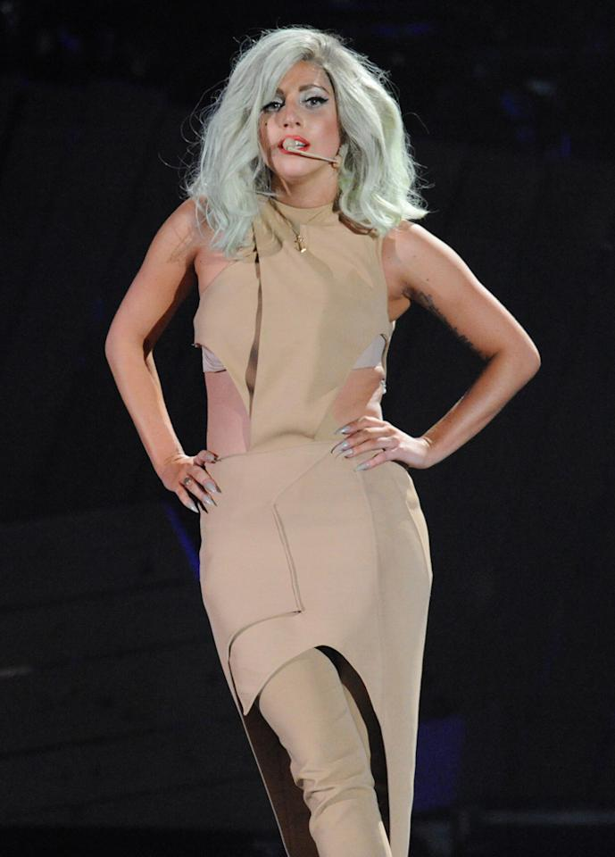 "Lady Gaga performs at the ""A Decade of Difference"" concert on October 15, 2011, at the Hollywood Bowl, Los Angeles. <br><br>(Photo by Stephanie Cabral/Yahoo!)"