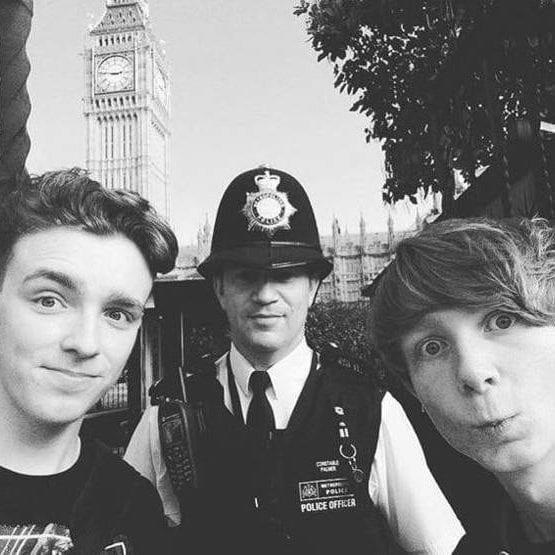 A-level students Tyler Chapperley-Russell and Will Robins met PC Keith Palmer while on a college trip to London last year - Credit: BBC