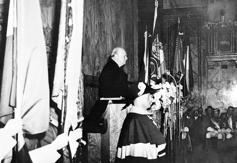 """FILE - In this Sept. 21, 1946 file photo, the former British prime minister, Winston Churchill, comes out in favor of a """"United States of Europe"""" in a speech at Zurich University, Switzerland, to make sure there is not another war. Though Britain stayed out of the formation of the European Economic Community when it launched in 1957, it soon had second thoughts and eventually joined in 1973. On Jan. 31, 2020, Britain is scheduled to leave what became known as the European Union. (AP Photo/File)"""